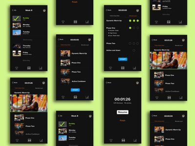 Fitness App UI Design health app workout app dark theme dark mode sketch figma illustrator web app icon typography ux ui design fitness app