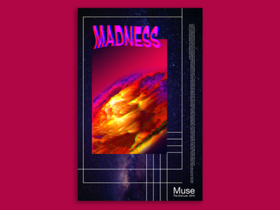 Poster #3 poster artwork muse madness muse poster art poster design experimental typography retro futurism music poster