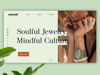 Amani webdesign feminine jewelry fashion beauty converting design landing page web design website website design branding design