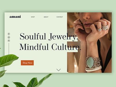 Amani webdesign feminine jewelry fashion beauty converting design landing page web design website website design branding design