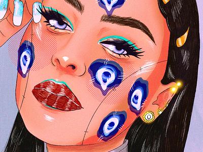 Eyes cartoon brushes art model woman ux digital drawing illustration