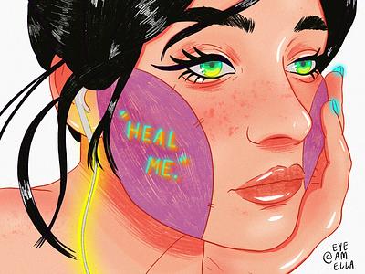 Heal me. cartoon brushes art model woman ux digital drawing illustration