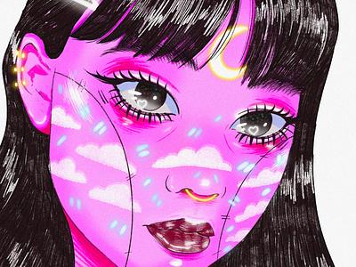 Moon thinking bigeyes cute moon woman drawing digitalart art illustration
