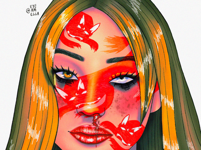 Fox drawing model web portrait ui art digitalart illustration