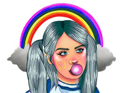 Bubble gum rainbow drawing model web portrait ui art digitalart illustration