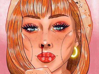 Uwu brushes web ux illustration model woman digitalart drawing art