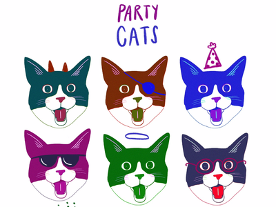 party cats ux model web illustration art graphicdesign design fashion