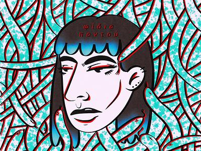 snakes everywhere selfportrait snakes graphicdesign ux design drawing illustration digitalart medusa