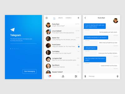 Telegram iOS app redesign—Daily UI #013 direct messaging telegram dailyui redesign ios mobile app ui