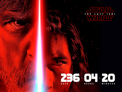 """Star Wars: The Last Jedi"" premiere countdown—Daily UI #014 dark countdown star wars dailyui"