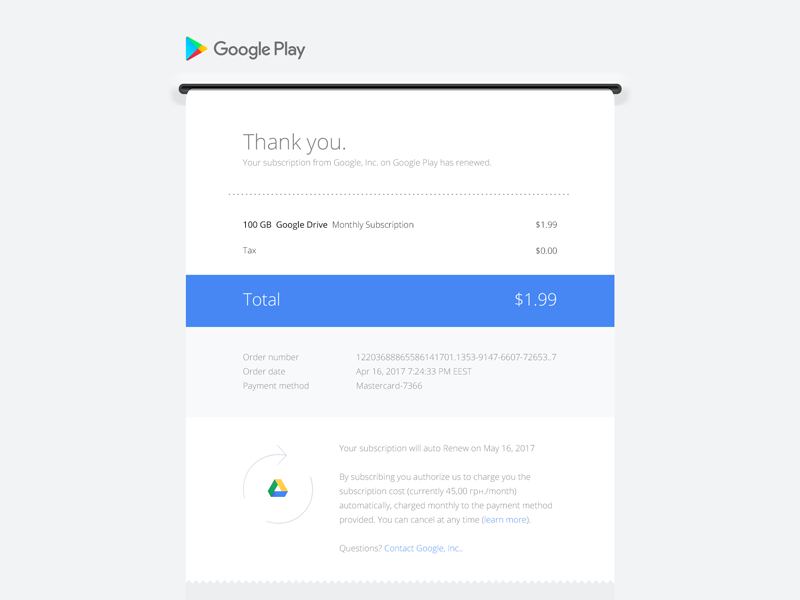 google play email receipt redesign daily ui 017 by andrey khorolets