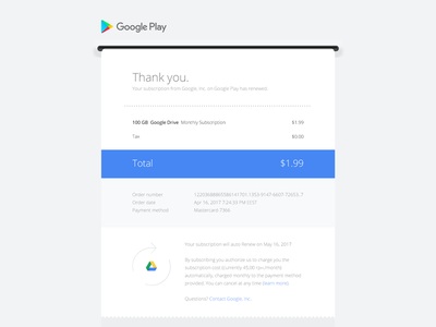 Google Play email receipt redesign—Daily UI #017 dailyui redesign google play receipt email web ui