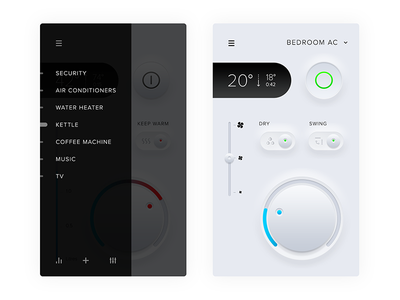 Smart home app AC control—Daily UI #021 ios ui air conditioner smart home settings remote mobile dailyui app