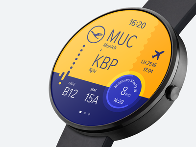 Smart watch boarding pass—Daily UI #024 android wear boarding pass smart watch dailyui ui