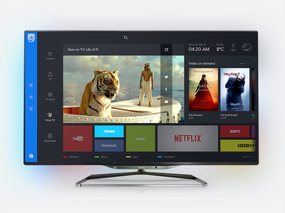 Philips Smart TV dashboard redesign—Daily UI #025 dark philips dailyui smart tv ux ui