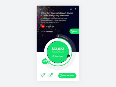 Crowdfunding campaign card redesign—Daily UI #032