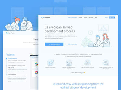 Promo Site features landing art character colaboration illustration lines people saas sitemap visual sitemap