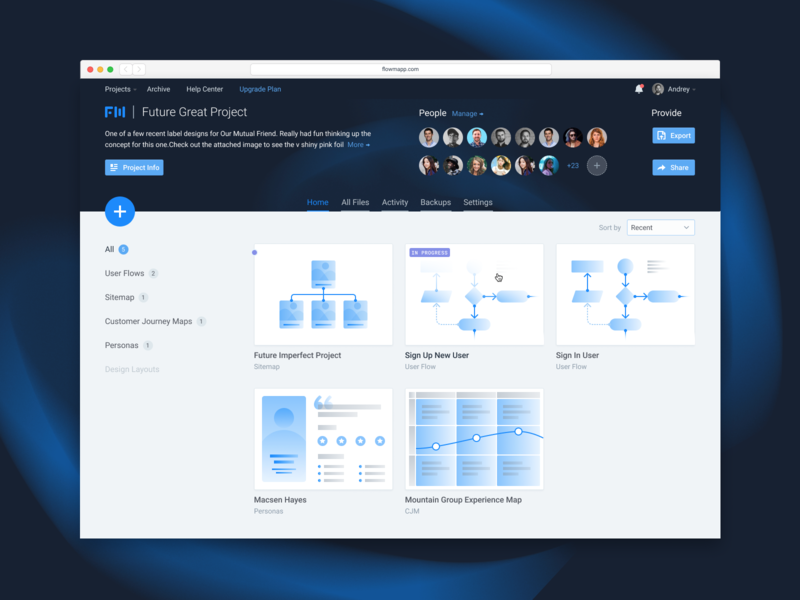 FlowMapp Project Desktop interface figma persona cjm user flow product design ui ux colaboration design sitemap