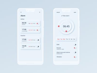 Daily UI 7 - Settings - Neumorphism Alarm