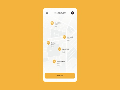 Daily UI 29 - Map - GTA San Andreas food delivery icon mobile illustration app vector flat ux ui minimal design