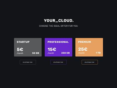 Daily UI 30 - Pricing - Cloud website branding web flat ux ui minimal design