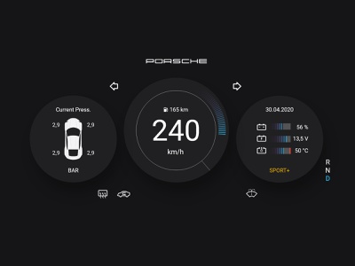 Daily UI 34 - Car Interface porsche interface car icon vector flat ui ux minimal design