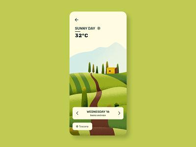 Daily UI 37 - Weather - Toscana weather landscape day weather illustrator mobile illustration app vector flat ux ui minimal design