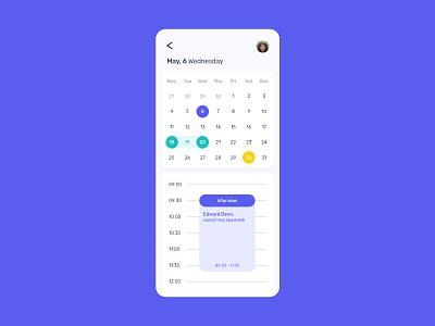 Daily UI 38 - Calendar callendar mobile app flat ux ui minimal design