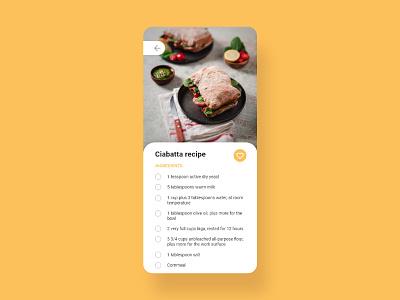 Daily UI 40 - Recipe - Ciabatta recipe food mobile app flat ux ui minimal design recipe