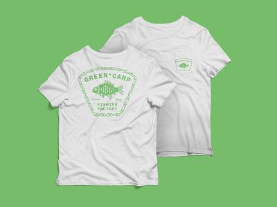 Green Carp T-shirt design tshirt typography branding logo illustration vector flat minimal design fishing fishing logo fish carp