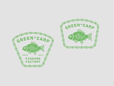 Green Carp Fishing Factory Logo design fish logo illustrator typography branding logo illustration minimal vector flat design fishing fish carp
