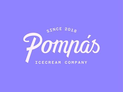 Pompás icecream company logo company ice cream ice branding handlettering lettering logotype icecream typography logo vector flat minimal design