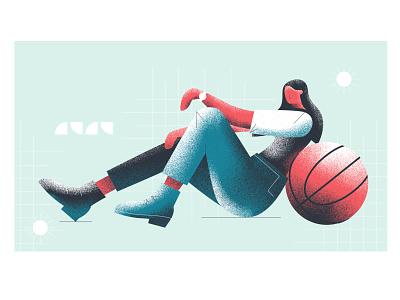 Basketball With Girl girls player basketball court basketball player basketball ball girl illustration vector flat minimal design
