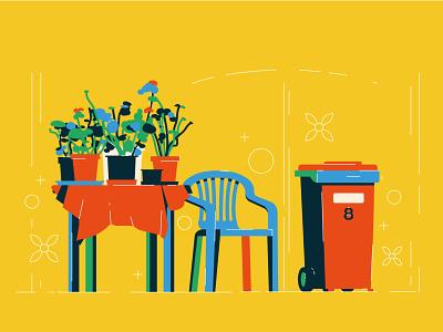 Hungarian village,  plastic chair and flowers illustration vector flat minimal design