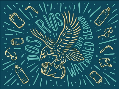 Dos Rios Watershed Cleanup cleanup river illustrator illustration art vector hand lettering typography branding illustration design