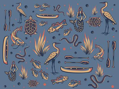 River Illustrations water san marcos mermaid turtle snake fish paddle texas river illustrator illustration art illustration design