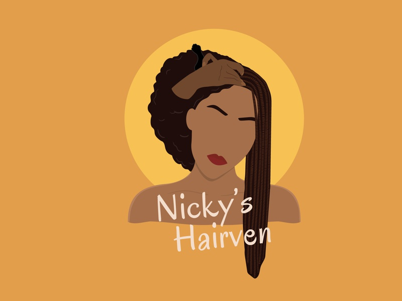 Logo Nicky s Hairven hair design logo illustration branding