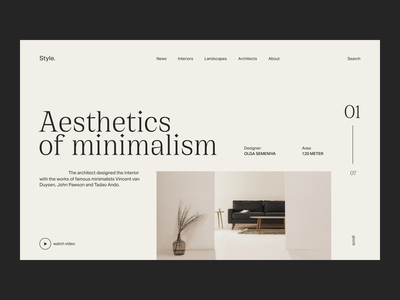 Interior magazine furniture interior website figma flat concept web uxui ux ui minimal design