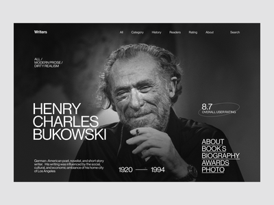 Bukowski bookssite writerssite writersite books writers writer bukowski website figma flat concept web uxui ui ux minimal design