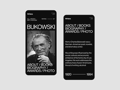 Bukiwski - Mobile writersite writers booksite books website figma flat concept web uxui ux ui minimal design