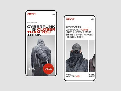 Cyberpunk Fashion e-commerce e-shop clothes fashion flat figma website concept web uxui ux ui minimal design
