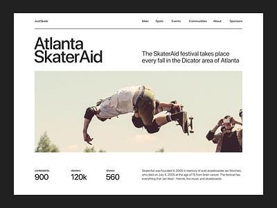 Just Skate sport site skate skateboard website flat concept web uxui ux ui minimal design