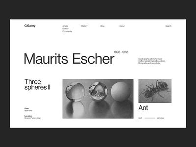 Maurits Escher gravure artist art gallery website minimalism concept web uxui ux ui minimal design