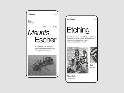 G.Gallery artists minimalism website figma flat concept web uxui ux ui minimal design