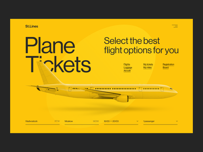 St.Lines Yellow yellow theme yellow plane airline branding minimalism website concept uxui ui ux minimal design
