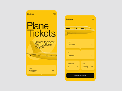 St.Lines Yellow Mobile airline app airline mobile app design mobile design mobile app mobile figma website flat web concept uxui ux ui minimal design