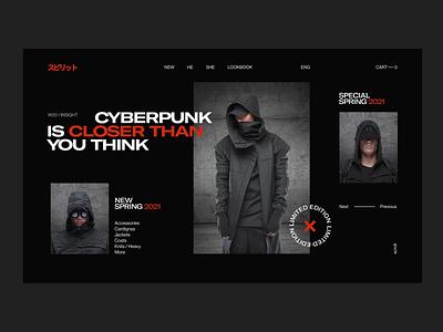 Cyberpunk Fashion Dark cyberpunk fashion minimalism figma website flat web concept uxui ux ui minimal design