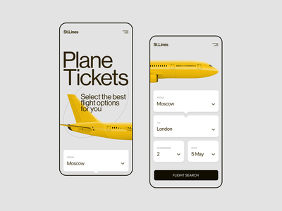 St.Lines Airline Company minimalism web ux  ui app design plame airplane airline figma ux ui minimal design concept