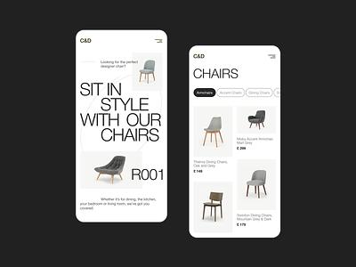 Designer Furniture Mobile dsigner furniture furniture design furniture website furniture store furniture airline minimalism web website uxui ui ux minimal design concept