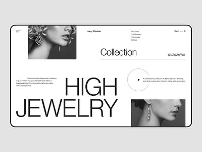 Jewelry Collection Harry Winston Light web-design graphic design e comerce jewelry jewelrydesign helvetica deamond harry winston h web uxui ui ux minimal design concept